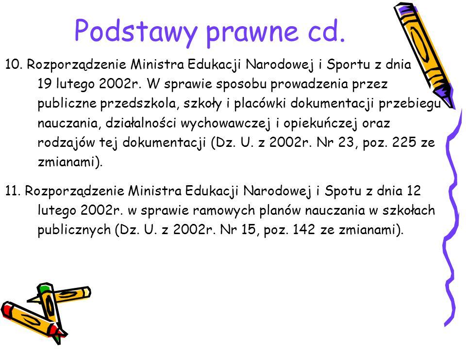 Podstawy prawne cd. 10. Rozporządzenie Ministra Edukacji Narodowej i Sportu z dnia 19 lutego 2002r. W sprawie sposobu prowadzenia przez publiczne prze