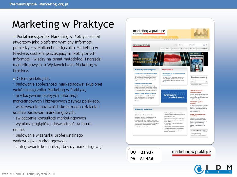 PremiumOpinie – Marketing.org.pl Marketing w Praktyce UU = 21 937 PV = 81 436 » Portal miesięcznika Marketing w Praktyce został stworzony jako platforma wymiany informacji pomiędzy czytelnikami miesięcznika Marketing w Praktyce, osobami poszukującymi praktycznych informacji i wiedzy na temat metodologii i narzędzi marketingowych, a Wydawnictwem Marketing w Praktyce.