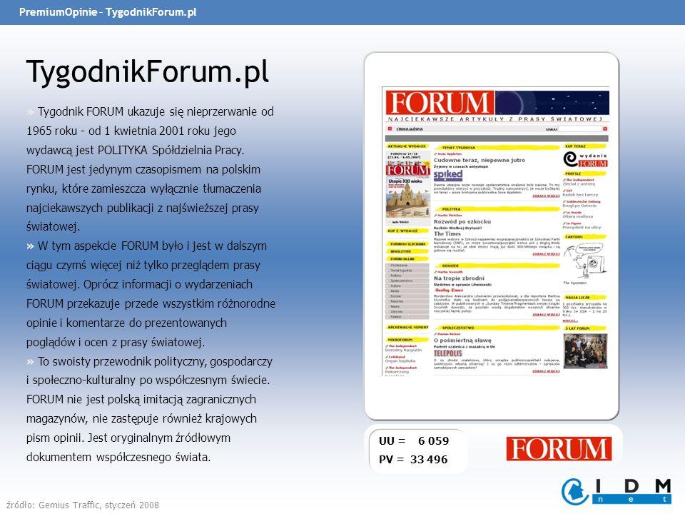 PremiumOpinie – TygodnikForum.pl TygodnikForum.pl UU = 6 059 PV = 33 496 » Tygodnik FORUM ukazuje się nieprzerwanie od 1965 roku - od 1 kwietnia 2001 roku jego wydawcą jest POLITYKA Spółdzielnia Pracy.