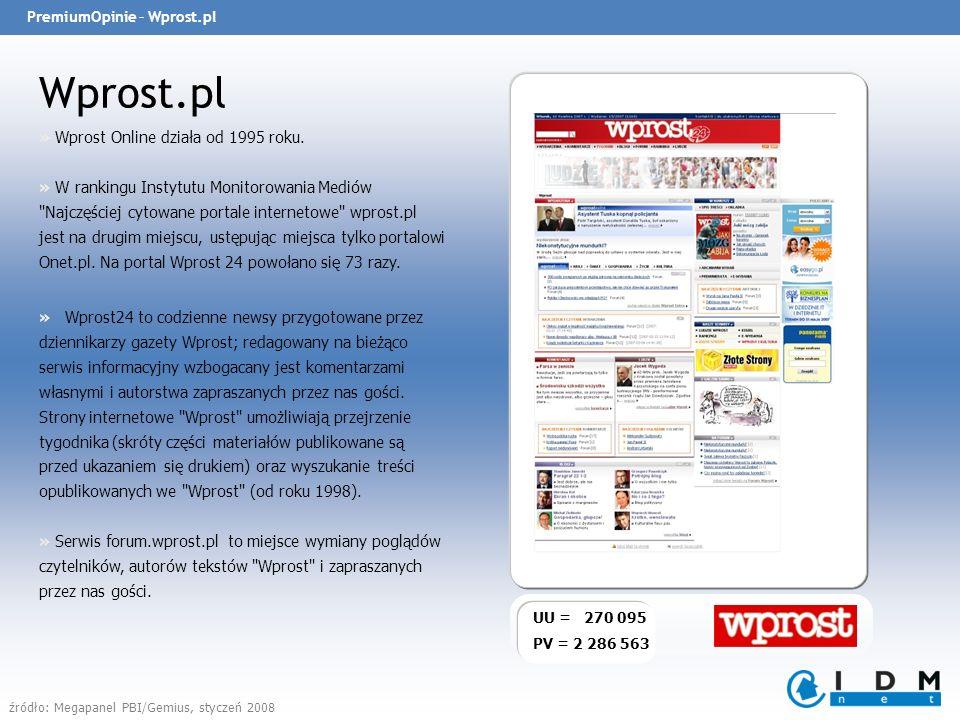 PremiumOpinie – Wprost.pl Wprost.pl UU = 270 095 PV = 2 286 563 » Wprost Online działa od 1995 roku.