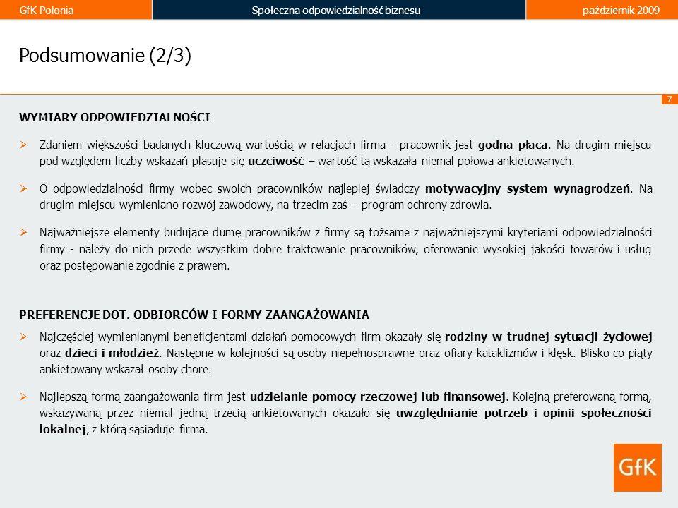 GfK PoloniaSpołeczna odpowiedzialność biznesupaździernik 2009 8 Podsumowanie (3/3) KOMUNIKACJA CSR Zdaniem ankietowanych firmy powinny informować o swoich społecznie odpowiedzialnych działaniach, zwłaszcza za pośrednictwem własnej strony internetowej oraz innych mediów.