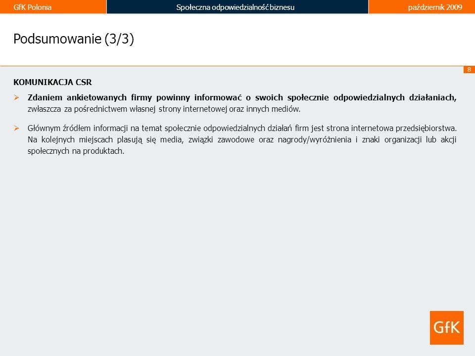 GfK PoloniaSpołeczna odpowiedzialność biznesupaździernik 2009 19 Preferencje dot.