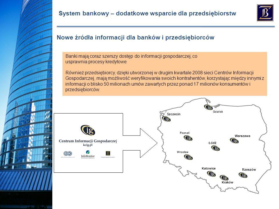System bankowy – dodatkowe wsparcie dla przedsiębiorstw Banki mają coraz szerszy dostęp do informacji gospodarczej, co usprawnia procesy kredytowe Również przedsiębiorcy, dzięki utworzonej w drugim kwartale 2008 sieci Centrów Informacji Gospodarczej, mają możliwość weryfikowania swoich kontrahentów, korzystając między innymi z informacji o blisko 50 milionach umów zawartych przez ponad 17 milionów konsumentów i przedsiębiorców.