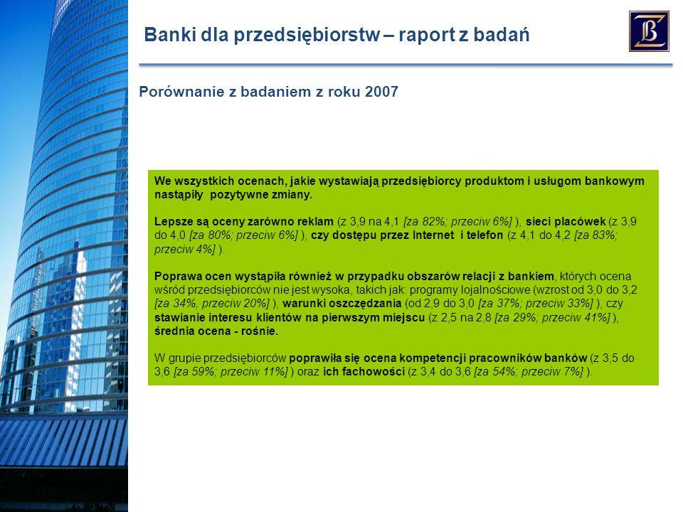 Banki dla przedsiębiorstw – raport z badań We wszystkich ocenach, jakie wystawiają przedsiębiorcy produktom i usługom bankowym nastąpiły pozytywne zmiany.