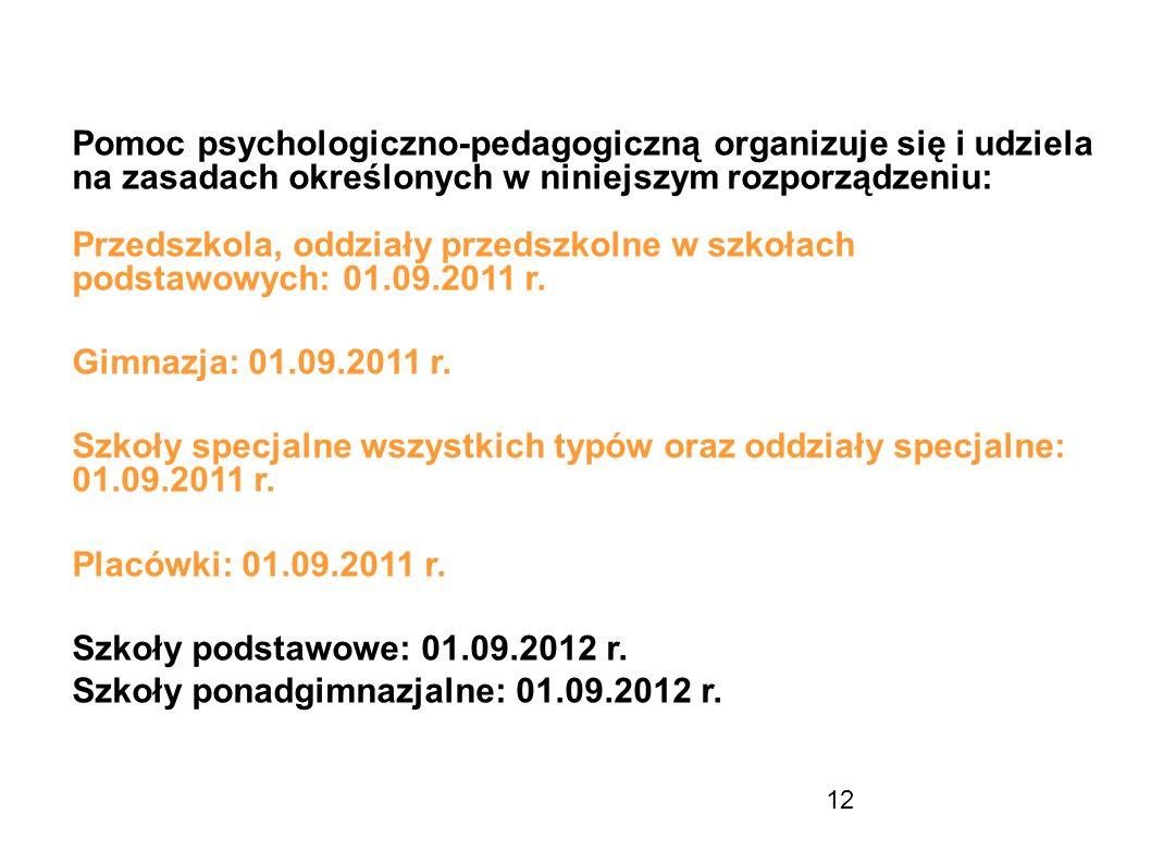 12 Pomoc psychologiczno-pedagogiczną organizuje się i udziela na zasadach określonych w niniejszym rozporządzeniu: Przedszkola, oddziały przedszkolne