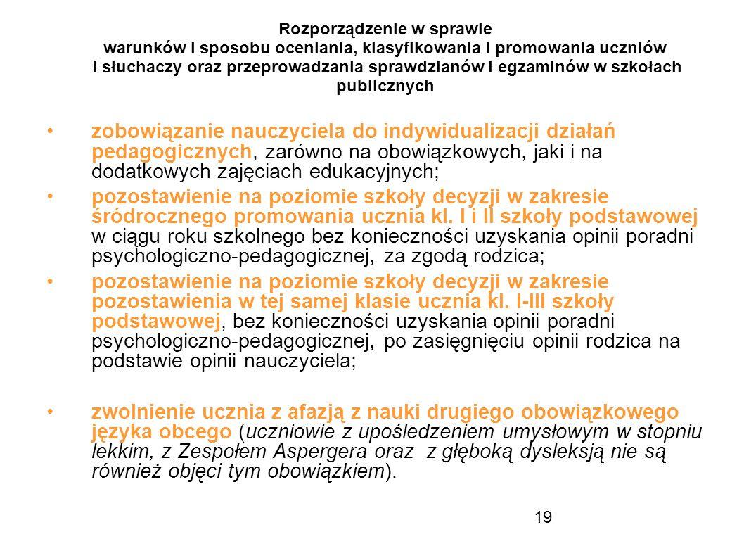 19 Rozporządzenie w sprawie warunków i sposobu oceniania, klasyfikowania i promowania uczniów i słuchaczy oraz przeprowadzania sprawdzianów i egzaminó