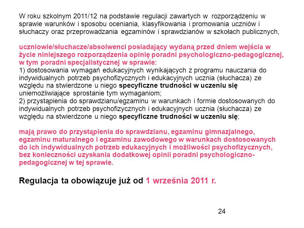 24 W roku szkolnym 2011/12 na podstawie regulacji zawartych w rozporządzeniu w sprawie warunków i sposobu oceniania, klasyfikowania i promowania uczni
