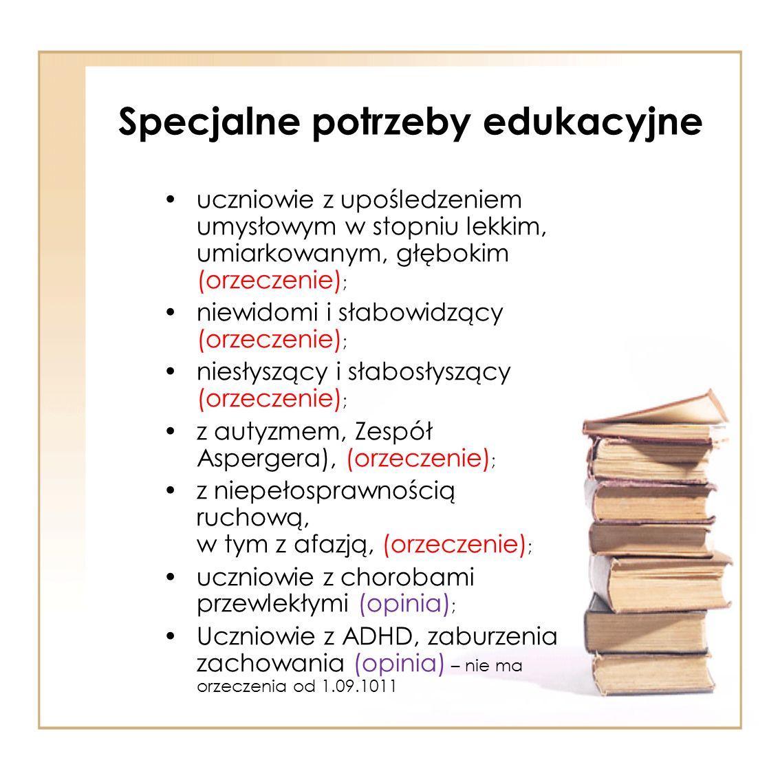 Specjalne potrzeby edukacyjne uczniowie z upośledzeniem umysłowym w stopniu lekkim, umiarkowanym, głębokim (orzeczenie) ; niewidomi i słabowidzący (or