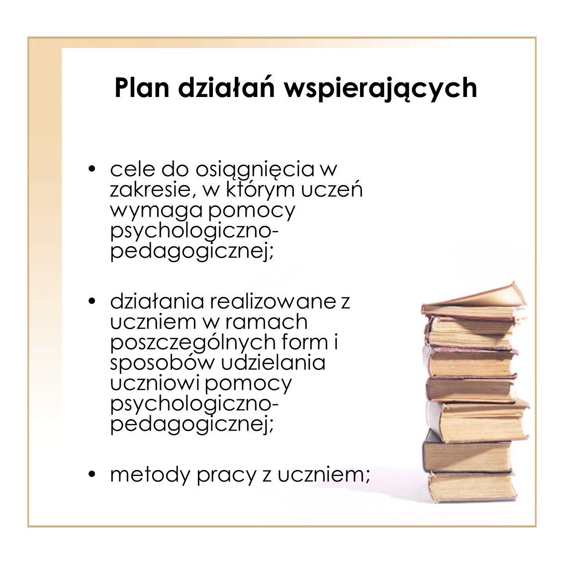 cele do osiągnięcia w zakresie, w którym uczeń wymaga pomocy psychologiczno- pedagogicznej; działania realizowane z uczniem w ramach poszczególnych fo