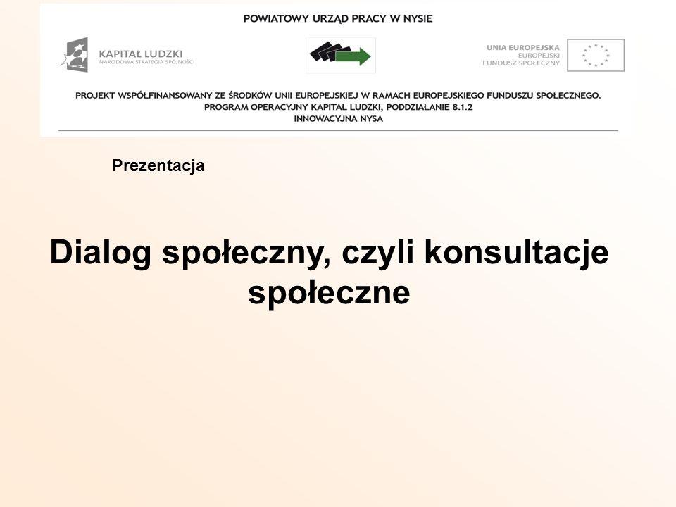 Prezentacja Dialog społeczny, czyli konsultacje społeczne Prezentacja