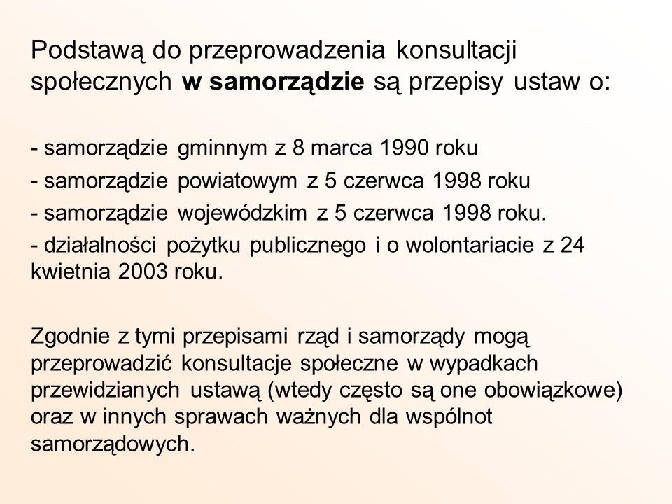 Podstawą do przeprowadzenia konsultacji społecznych w samorządzie są przepisy ustaw o: - samorządzie gminnym z 8 marca 1990 roku - samorządzie powiato