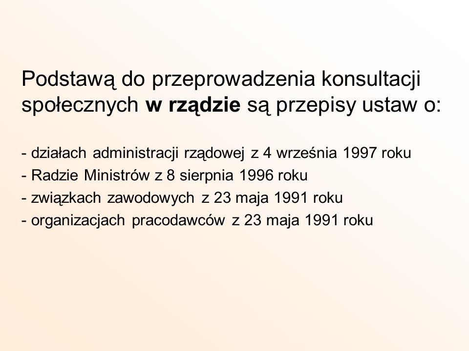 Podstawą do przeprowadzenia konsultacji społecznych w rządzie są przepisy ustaw o: - działach administracji rządowej z 4 września 1997 roku - Radzie M