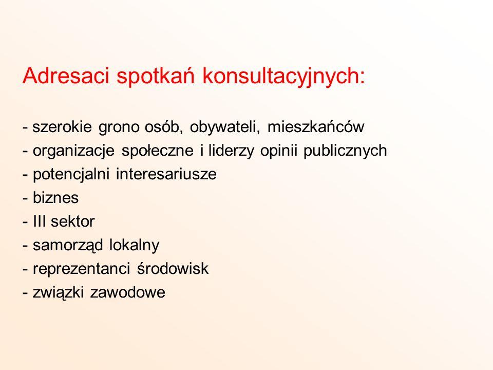 Adresaci spotkań konsultacyjnych: - szerokie grono osób, obywateli, mieszkańców - organizacje społeczne i liderzy opinii publicznych - potencjalni int