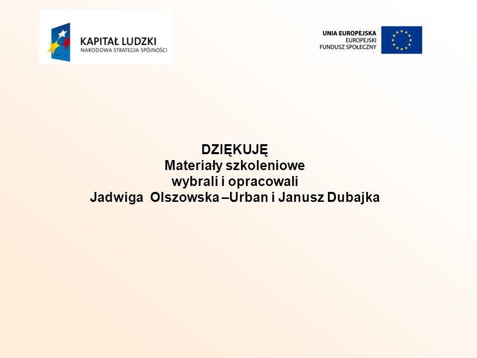 DZIĘKUJĘ Materiały szkoleniowe wybrali i opracowali Jadwiga Olszowska –Urban i Janusz Dubajka