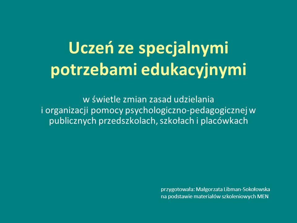 Uczeń ze specjalnymi potrzebami edukacyjnymi w świetle zmian zasad udzielania i organizacji pomocy psychologiczno-pedagogicznej w publicznych przedszk