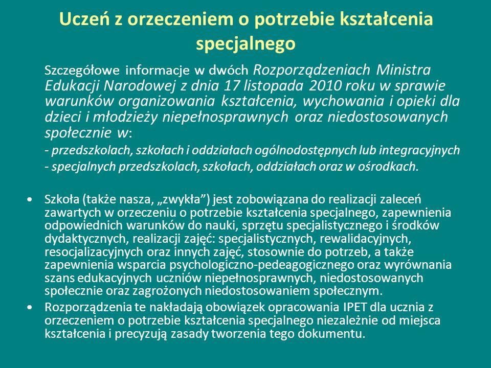 Uczeń z orzeczeniem o potrzebie kształcenia specjalnego Szczegółowe informacje w dwóch Rozporządzeniach Ministra Edukacji Narodowej z dnia 17 listopad
