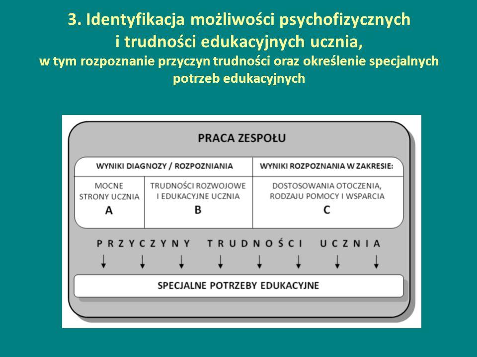 3. Identyfikacja możliwości psychofizycznych i trudności edukacyjnych ucznia, w tym rozpoznanie przyczyn trudności oraz określenie specjalnych potrzeb