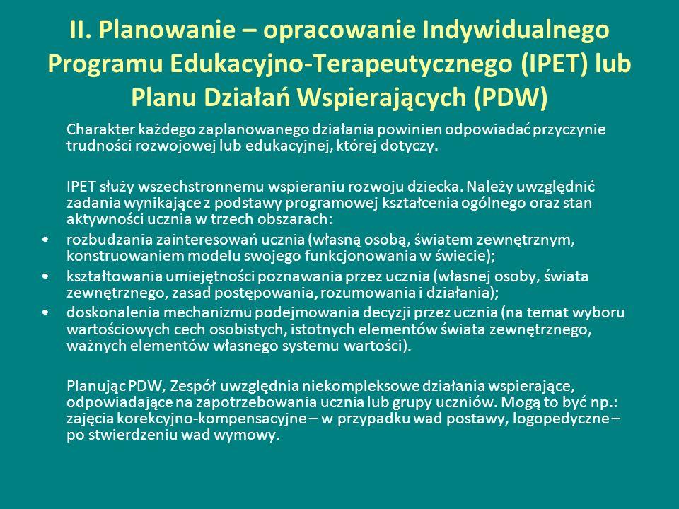 II. Planowanie – opracowanie Indywidualnego Programu Edukacyjno-Terapeutycznego (IPET) lub Planu Działań Wspierających (PDW) Charakter każdego zaplano