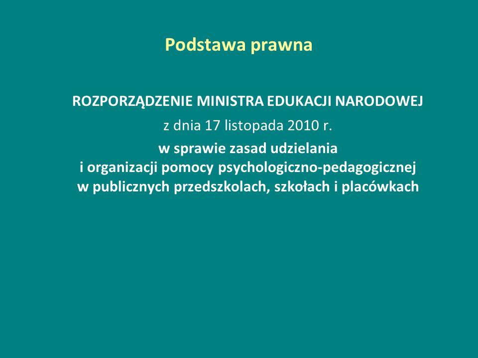 Podstawa prawna ROZPORZĄDZENIE MINISTRA EDUKACJI NARODOWEJ z dnia 17 listopada 2010 r. w sprawie zasad udzielania i organizacji pomocy psychologiczno-