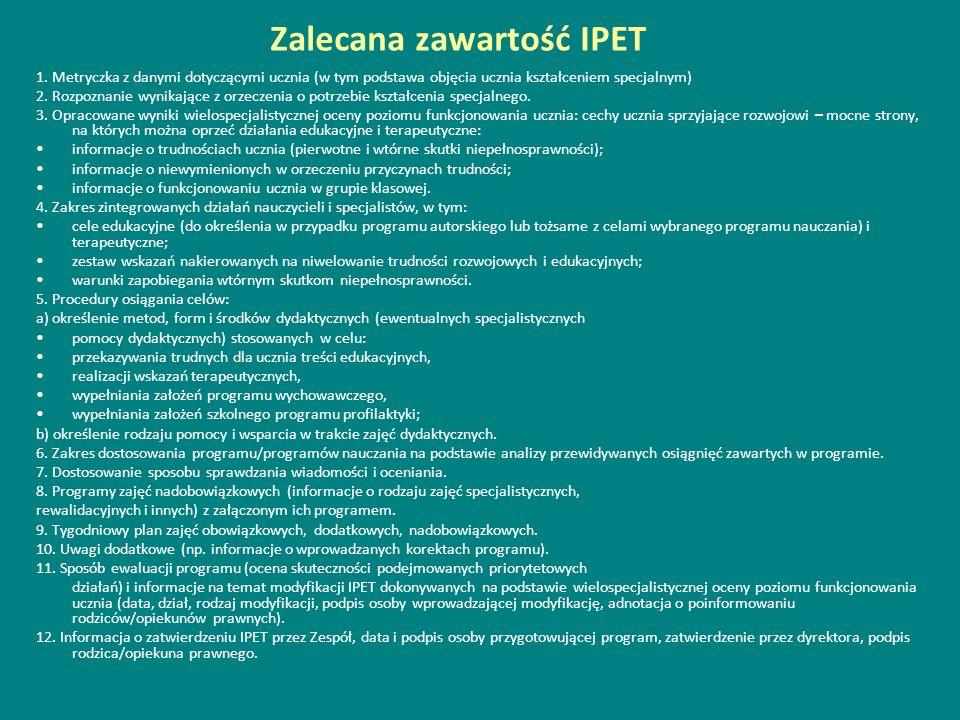 Zalecana zawartość IPET 1. Metryczka z danymi dotyczącymi ucznia (w tym podstawa objęcia ucznia kształceniem specjalnym) 2. Rozpoznanie wynikające z o