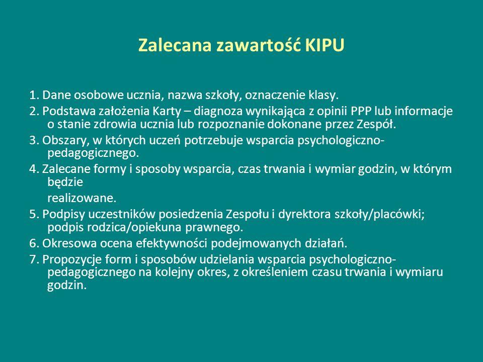 Zalecana zawartość KIPU 1. Dane osobowe ucznia, nazwa szkoły, oznaczenie klasy. 2. Podstawa założenia Karty – diagnoza wynikająca z opinii PPP lub inf