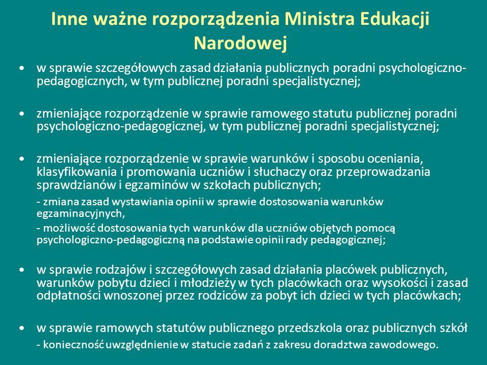 Inne ważne rozporządzenia Ministra Edukacji Narodowej w sprawie szczegółowych zasad działania publicznych poradni psychologiczno- pedagogicznych, w ty