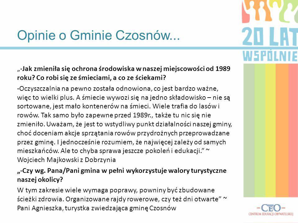 Opinie o Gminie Czosnów... -Jak zmieniła się ochrona środowiska w naszej miejscowości od 1989 roku? Co robi się ze śmieciami, a co ze ściekami? -Oczys
