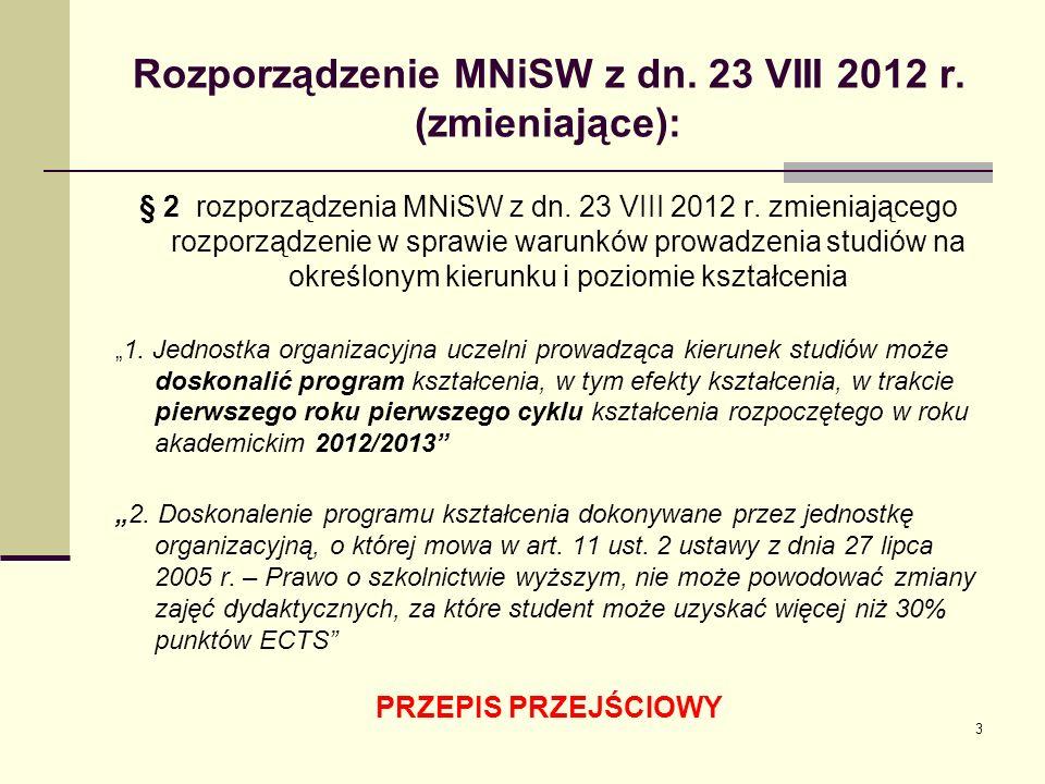 Rozporządzenie MNiSW z dn. 23 VIII 2012 r. (zmieniające): § 2 rozporządzenia MNiSW z dn.