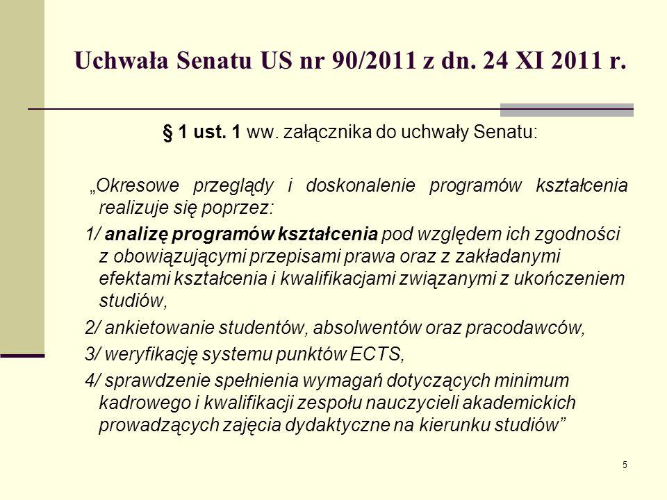 Uchwała Senatu US nr 90/2011 z dn. 24 XI 2011 r. § 1 ust.