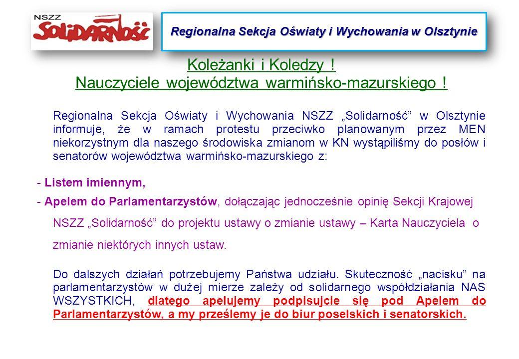 Koleżanki i Koledzy . Nauczyciele województwa warmińsko-mazurskiego .