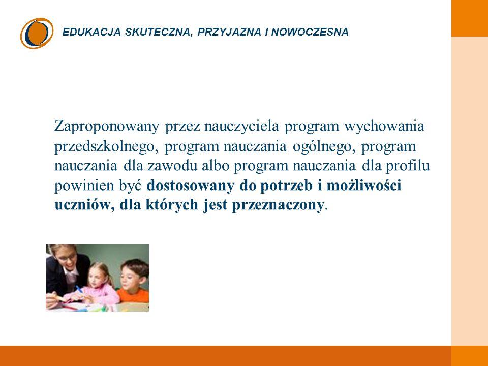 EDUKACJA SKUTECZNA, PRZYJAZNA I NOWOCZESNA Zaproponowany przez nauczyciela program wychowania przedszkolnego, program nauczania ogólnego, program nauc