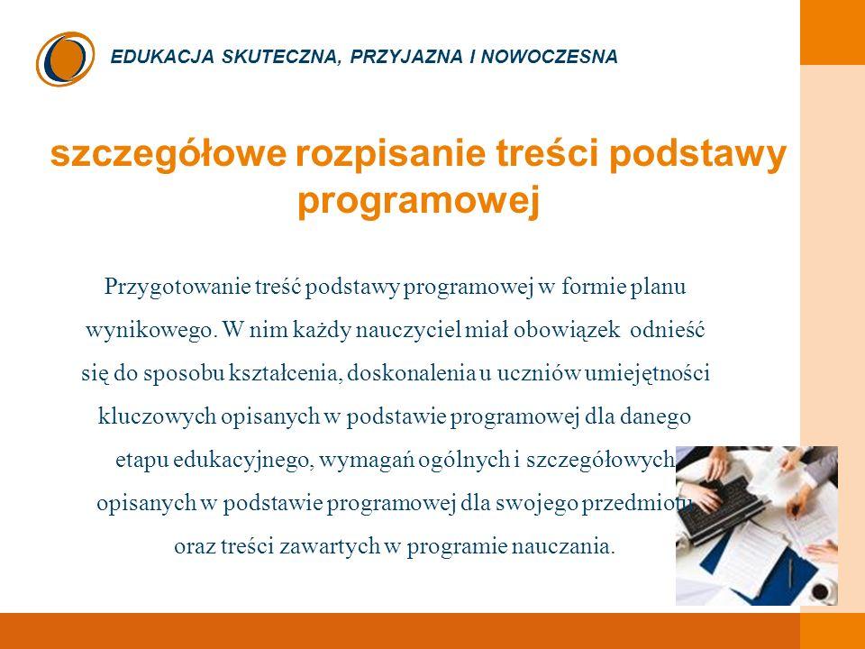 EDUKACJA SKUTECZNA, PRZYJAZNA I NOWOCZESNA szczegółowe rozpisanie treści podstawy programowej Przygotowanie treść podstawy programowej w formie planu