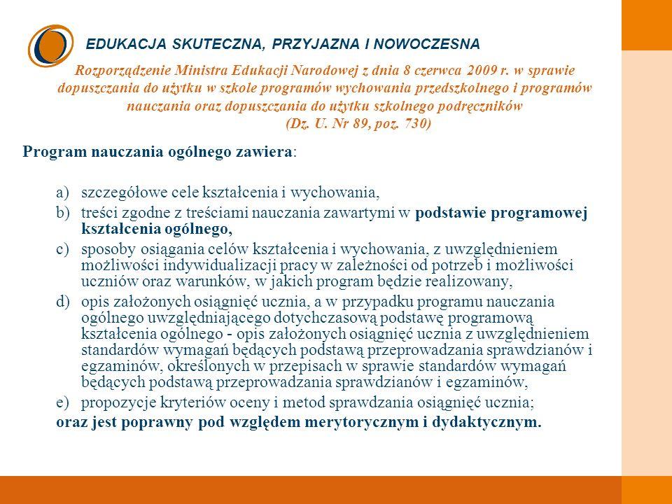 EDUKACJA SKUTECZNA, PRZYJAZNA I NOWOCZESNA Rozporządzenie Ministra Edukacji Narodowej z dnia 8 czerwca 2009 r. w sprawie dopuszczania do użytku w szko