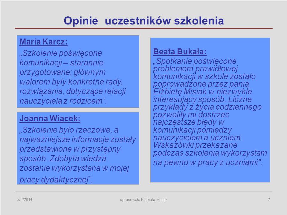 3/2/2014opracowała Elżbieta Misiak2 Opinie uczestników szkolenia Beata Bukała: Spotkanie poświęcone problemom prawidłowej komunikacji w szkole zostało