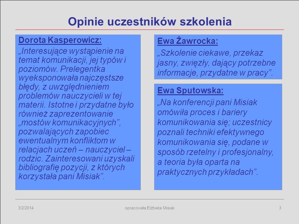 3/2/2014opracowała Elżbieta Misiak3 Opinie uczestników szkolenia Dorota Kasperowicz: Interesujące wystąpienie na temat komunikacji, jej typów i poziom