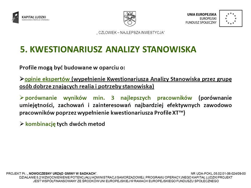 CZLOWIEK – NAJLEPSZA INWESTYCJA 5. KWESTIONARIUSZ ANALIZY STANOWISKA Profile mogą być budowane w oparciu o: opinie ekspertów (wypełnienie Kwestionariu