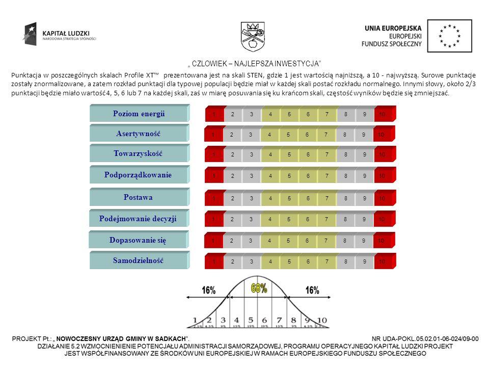 CZLOWIEK – NAJLEPSZA INWESTYCJA Poziom energii 12345678910 Asertywność 12345678910 Towarzyskość 12345678910 Podporządkowanie 12345678910 Postawa 12345