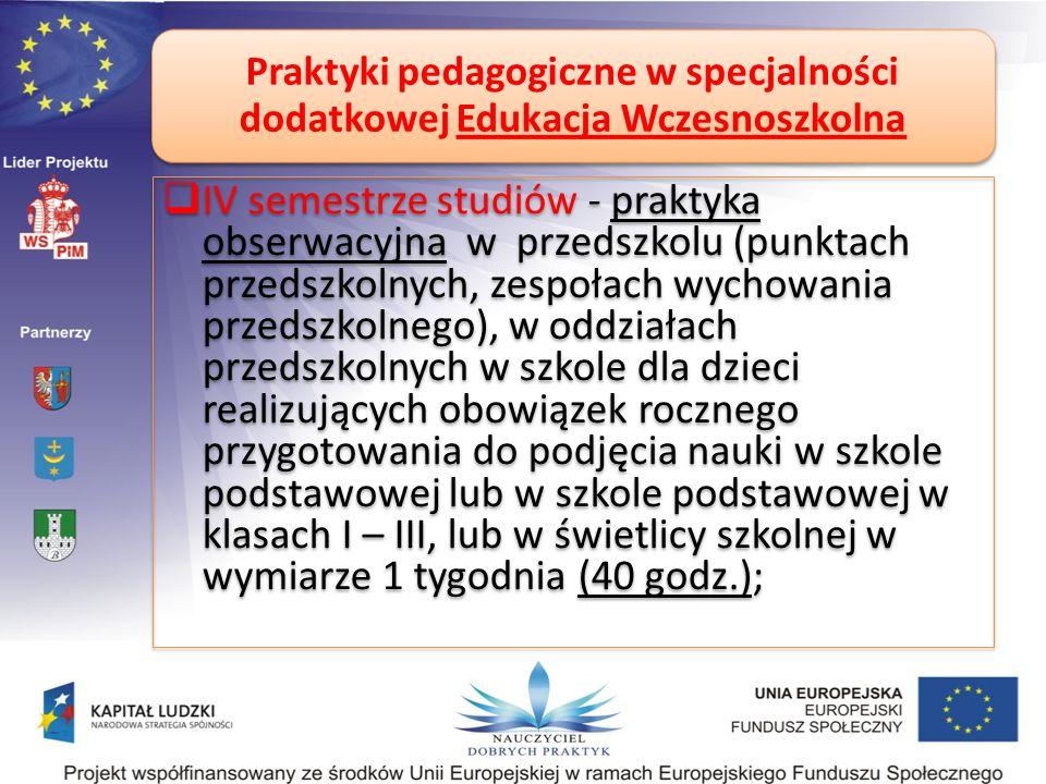 Praktyki pedagogiczne w specjalności dodatkowej Edukacja Wczesnoszkolna IV semestrze studiów - praktyka obserwacyjna w przedszkolu (punktach przedszko