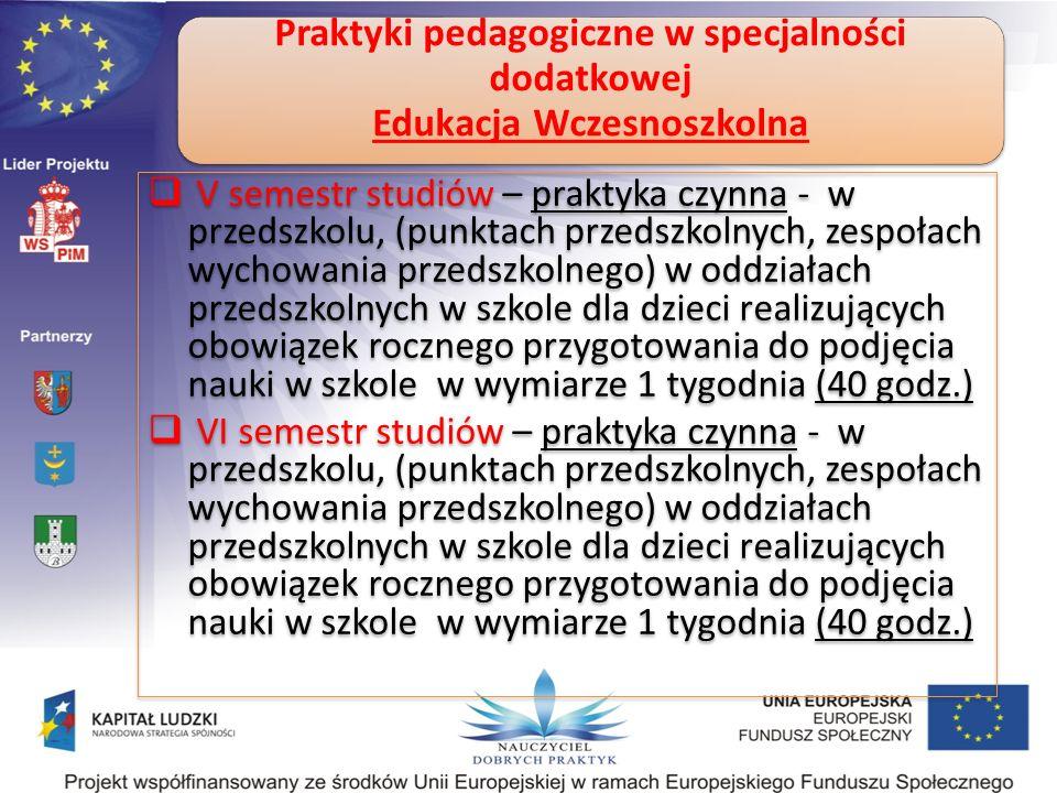 Praktyki pedagogiczne w specjalności dodatkowej Edukacja Wczesnoszkolna V semestr studiów – praktyka czynna - w przedszkolu, (punktach przedszkolnych,