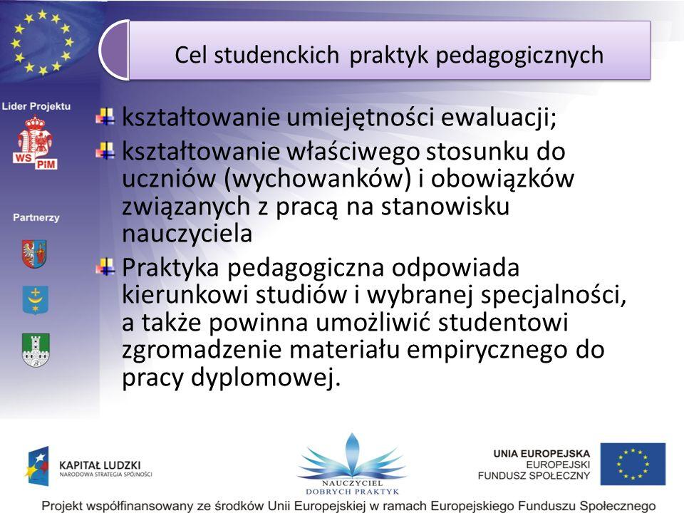 Cel studenckich praktyk pedagogicznych kształtowanie umiejętności ewaluacji; kształtowanie właściwego stosunku do uczniów (wychowanków) i obowiązków z