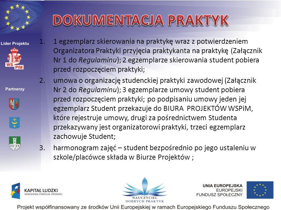 1.1 egzemplarz skierowania na praktykę wraz z potwierdzeniem Organizatora Praktyki przyjęcia praktykanta na praktykę (Załącznik Nr 1 do Regulaminu); 2