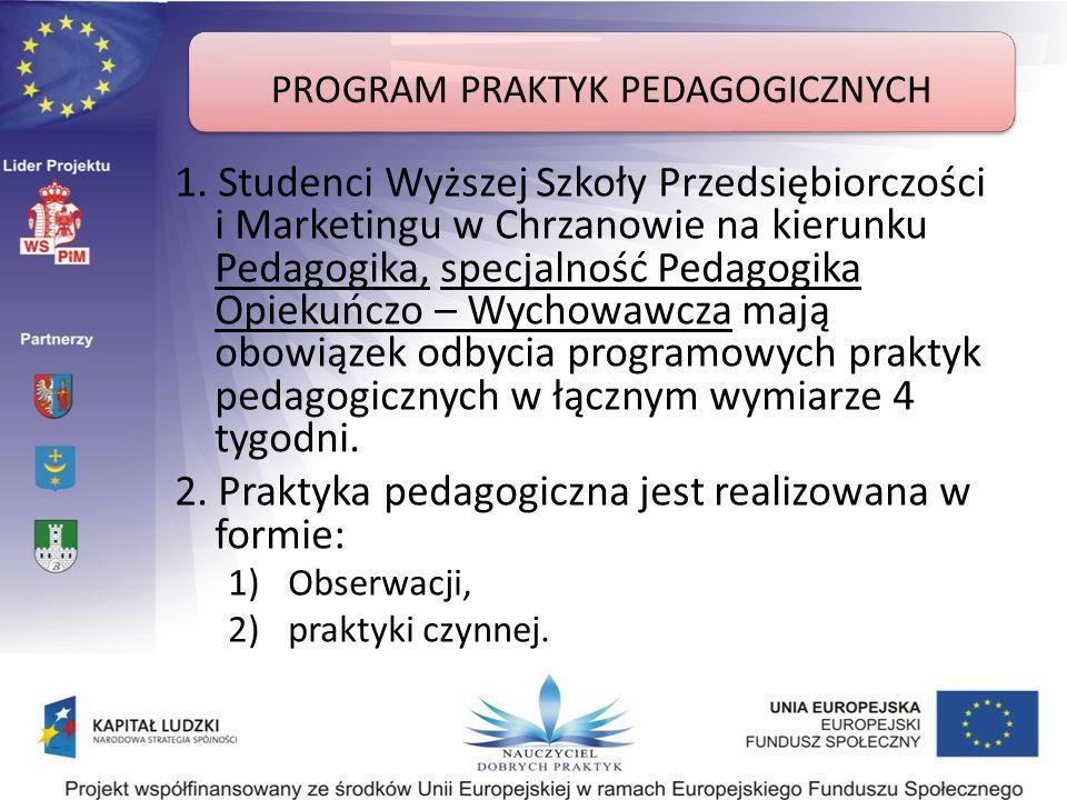 Formy realizacji praktyk Praktyka obserwacyjna: zapoznanie ze strukturą organizacyjną i dokumentacją oraz przepisami prawa wewnętrznego, regulującymi pracę szkoły/placówki (statut, regulaminy wewnętrzne); obserwacja działalności dydaktycznej i opiekuńczo- wychowawczej prowadzonej w szkole/ placówce; analiza celów i zadań szkoły/placówki oraz sposobów ich realizacji; obserwacja zajęć prowadzonych w szkole/placówce przez opiekuna praktyk, innych nauczycieli i praktykantów oraz omawianie w/w zajęć.