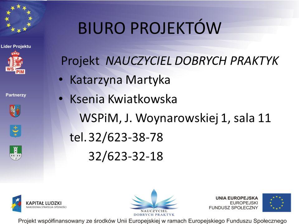 BIURO PROJEKTÓW Projekt NAUCZYCIEL DOBRYCH PRAKTYK Katarzyna Martyka Ksenia Kwiatkowska WSPiM, J. Woynarowskiej 1, sala 11 tel.32/623-38-78 32/623-32-