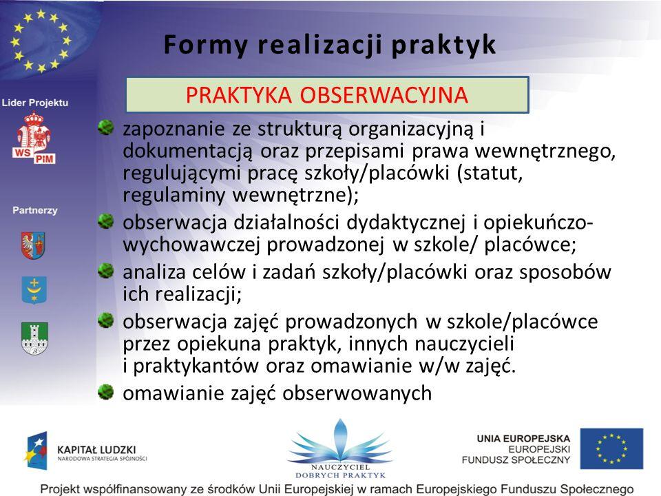 Formy realizacji praktyk Praktyka obserwacyjna: zapoznanie ze strukturą organizacyjną i dokumentacją oraz przepisami prawa wewnętrznego, regulującymi