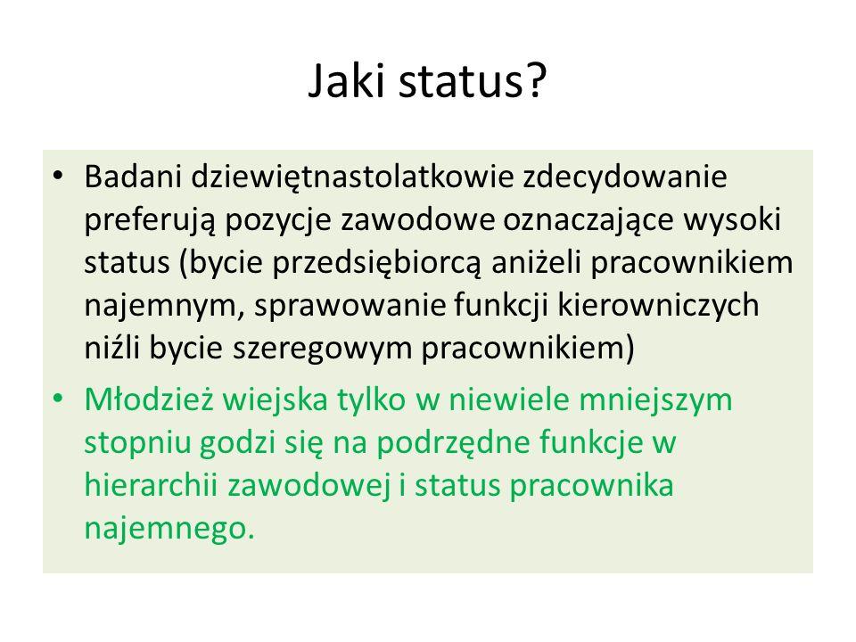 Jaki status? Badani dziewiętnastolatkowie zdecydowanie preferują pozycje zawodowe oznaczające wysoki status (bycie przedsiębiorcą aniżeli pracownikiem