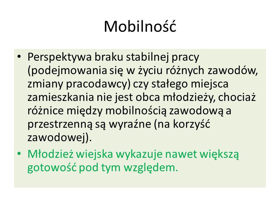 Mobilność Perspektywa braku stabilnej pracy (podejmowania się w życiu różnych zawodów, zmiany pracodawcy) czy stałego miejsca zamieszkania nie jest ob