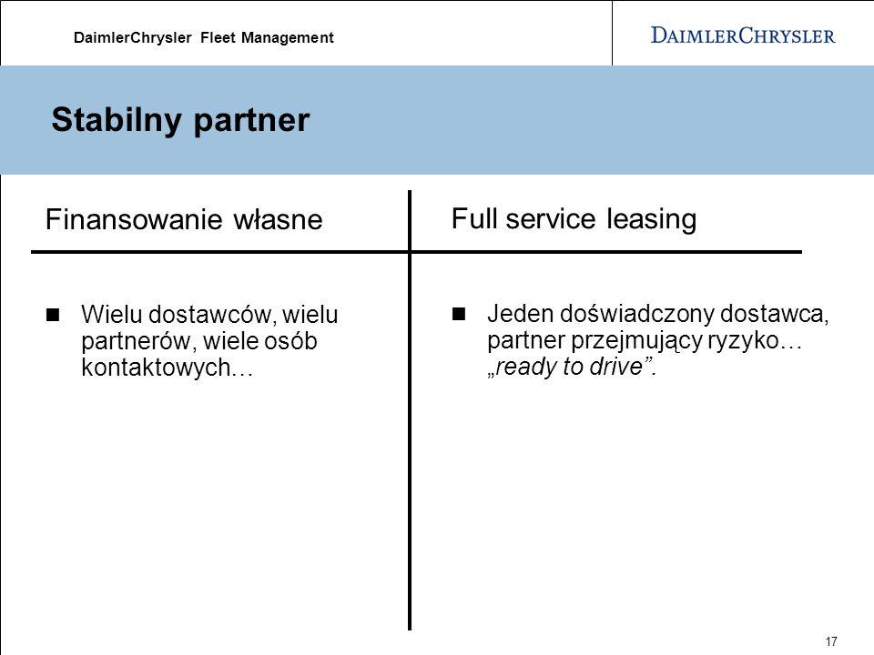 DaimlerChrysler Fleet Management 17 Stabilny partner Finansowanie własne Wielu dostawców, wielu partnerów, wiele osób kontaktowych… Full service leasing Jeden doświadczony dostawca, partner przejmujący ryzyko…ready to drive.