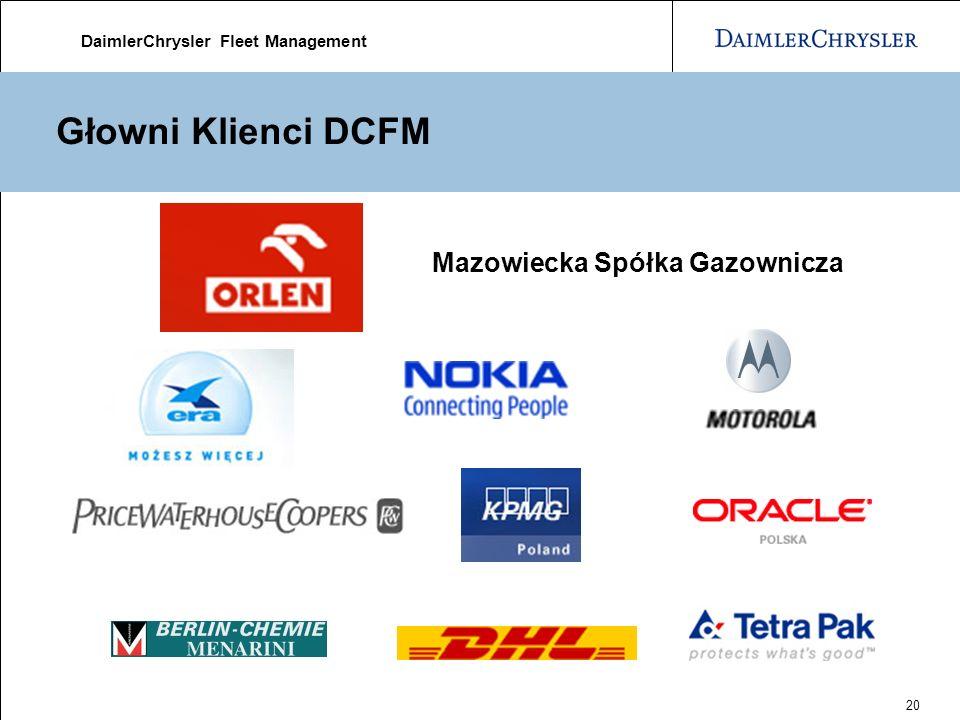 DaimlerChrysler Fleet Management 20 Głowni Klienci DCFM Mazowiecka Spółka Gazownicza