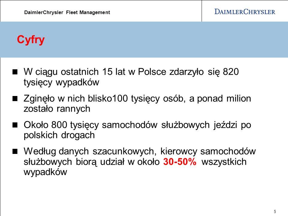 DaimlerChrysler Fleet Management 5 Cyfry W ciągu ostatnich 15 lat w Polsce zdarzyło się 820 tysięcy wypadków Zginęło w nich blisko100 tysięcy osób, a ponad milion zostało rannych Około 800 tysięcy samochodów służbowych jeździ po polskich drogach Według danych szacunkowych, kierowcy samochodów służbowych biorą udział w około 30-50% wszystkich wypadków