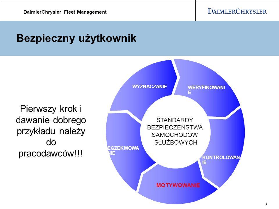 DaimlerChrysler Fleet Management 8 Bezpieczny użytkownik WERYFIKOWANI E KONTROLOWAN IE MOTYWOWANIE EGZEKWOWA NIE WYZNACZANIE STANDARDY BEZPIECZEŃSTWA SAMOCHODÓW SŁUŻBOWYCH Pierwszy krok i dawanie dobrego przykładu należy do pracodawców!!!